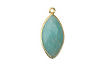 Amazonite Faceted Horse Eye Drop in Gold Vermeil 11-12x23-25