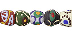 African Handpainted Multi Powder Glass (Krobo) Beads 9-11x10-12mm
