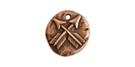 Nunn Design Antique Copper (plated) Organic Round Crossed Arrow Charm 17x19mm