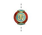 "Tibetan Coral & Brass w/ ""Om"" on a Turquoise Center Coin Bead 19x17mm"
