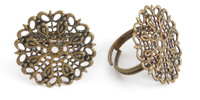 Antique Brass (plated) Filigree Adjustable Ring 25mm