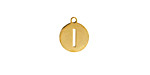 """Gold (plated) Stainless Steel Initial Coin Charm """"I"""" 10x12mm"""