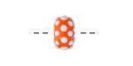 Grace Lampwork Polka Dots on Tangerine Rondelle 9x14mm
