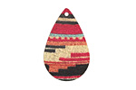 Kilim Etched & Printed Gold Finish Teardrop Focal 18x27mm