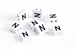 "White Enamel 2-Hole Tile Square Bead w/ Letter ""N"" 8mm"