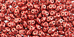 ColorTrends: Sueded Gold Samba Red SuperDuo 2x5mm Seed Bead