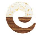 Walnut Wood & Clear w/ Gold Foil Resin Koru Focal 36x37mm