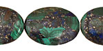 Azurite Malachite Flat Oval 30x22mm