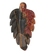 Red Creek Jasper Carved Leaf Focal Pendant 29-31x50-55mm