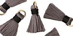 Gray w/ Black Binding & Jump Ring Thread Tassel 17mm