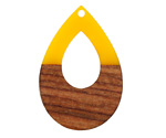 Walnut Wood & Saffron Resin Open Teardrop Focal 25x38mm