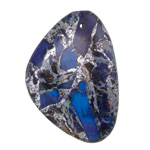 Midnight Blue Impression Jasper & Pyrite Flat Freeform Pendant 31-32x45-46mm