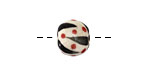 Gaea Ceramic Black Stripe w/ Red Dots Organic Round 9-10x12-13mm