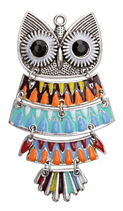 Antique Silver (plated) Retro Enameled Harvest Owl 5-piece Focal 50x90mm