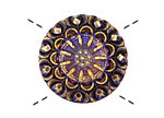 Czech Glass Electric Purple w/ Gold Lace Button 27mm