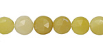 Yellow Opal Faceted Coin 9-10mm