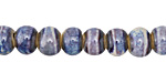 Wisteria Banded Porcelain Tumbled Rondelle 7x10mm