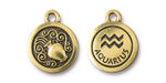 TierraCast Antique Gold (plated) Round Aquarius Charm 15x18mm