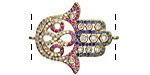 Jewel Tone Mix Pave CZ Gold (plated) Hamsa Focal Link 30x24mm