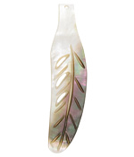 Black Lip Shell Carved Cutout Feather Focal 14-18x58-75mm