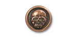 TierraCast Antique Copper (plated) Scary Skull Button 17mm