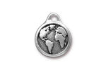 TierraCast Antique Silver (plated) Earth Pendant 16x20mm