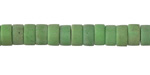 African Recycled Glass Green Button Beads 4x7-8mm