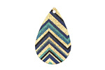 Zig-Zag Etched & Printed Gold Finish Teardrop Focal 18x27mm