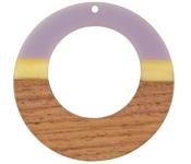 Walnut Wood & Lavender Fields Resin Gypsy Hoop Focal 49mm