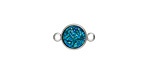 Metallic Turquoise Crystal Druzy Coin Link in Silver Finish Bezel 14x9mm