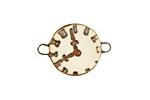 Earthenwood Studio Ceramic Oxidation Clock Face Link 25x18mm