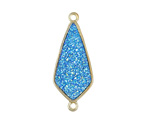 Metallic Aqua Crystal Druzy Teardrop Link in Gold Finish Bezel 33x14mm