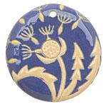 Golem Studio Dandelion on Blue Carved Ceramic Circle Pendant 45mm
