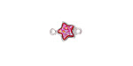 Metallic Hot Pink Crystal Druzy Star Link in Silver Finish Bezel 12x8mm