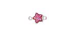 Metallic Hot Pink Crystal Druzy Star Link in Silver Finish Bezel 12x8mm