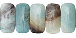 Black Gold Amazonite 2-Hole Rounded Rectangle 10x20mm