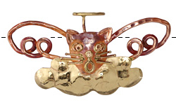 Patricia Healey Copper Singing Angel Cat Pendant 82x37mm