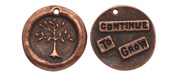 "The Lipstick Ranch Antique Copper (plated) Pewter ""Continue To Grow"" Tree Wax Seal Charm 22mm"