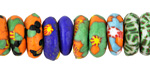 African Recycled Glass & Seed Bead Multi Color Mix Mini Donut 5-6x13-15mm