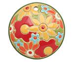 Golem Studio Summer Garden Carved Ceramic Circle Pendant 39mm