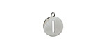 """Stainless Steel Initial Coin Charm """"I"""" 10x12mm"""