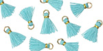 Aqua w/ Gold Binding & Jump Ring Tiny Thread Tassel 12mm