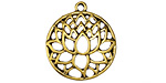 Zola Elements Antique Gold (plated) Domed Openwork Lotus Pendant 22x24mm