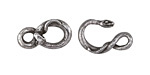 Green Girl Pewter Snake Hook & Eye Clasp 32x12mm