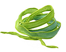 Blue-Green/Lime Hand Dyed 100% Silk Ribbon 1/2""