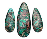 Emerald Impression Jasper & Pyrite Pendant Set 15x35 & 20x50mm