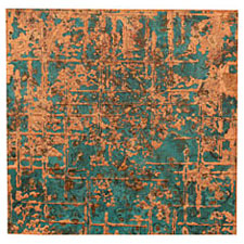 "Lillypilly Azul Bamboo Embossed Patina Copper Sheet 3""x3"", 36 gauge"