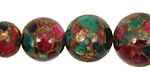Jewel Tone Mosaic Stone Graduated Round 8-18mm