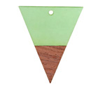 Wood & Bottle Green Resin Triangle Drop Focal 31x37mm