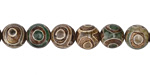 Tibetan (Dzi) Agate Dark Green & Brown Round 8mm
